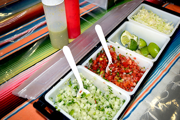 Toppings from Taqueria Aztlan of Redland Market Village
